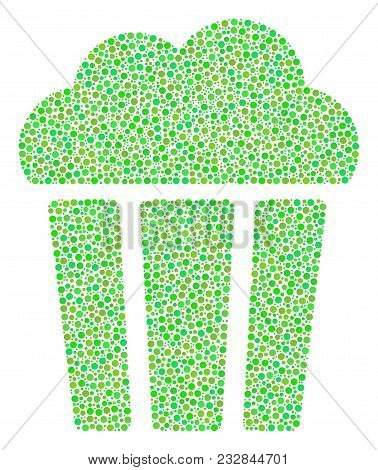 Popcorn Bucket Collage Of Circle Dots In Different Sizes And Eco Green Shades. Small Circles Are Com