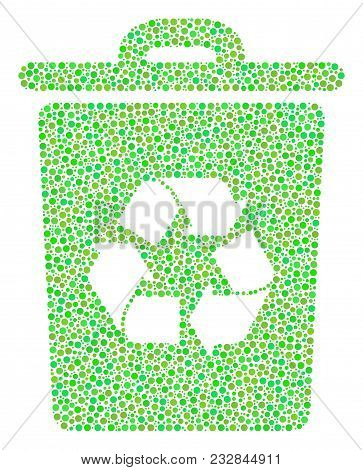 Recycle Bin Collage Of Circle Dots In Various Sizes And Green Color Hues. Circle Dots Are United Int