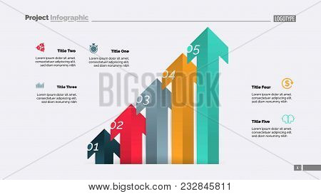 Arrow Diagram With Five Steps. Bar Chart, Step Diagram, Slide Template. Creative Concept For Infogra