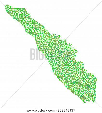 Sumatra Island Map Collage Of Dots In Variable Sizes And Eco Green Color Tinges. Small Circles Are C