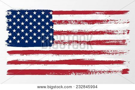 Waving Flag United States Of America. Illustration Wavy American Flag For Independence Day Brush Str