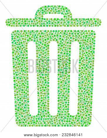 Trash Bin Composition Of Dots In Different Sizes And Eco Green Color Tinges. Circle Elements Are Com