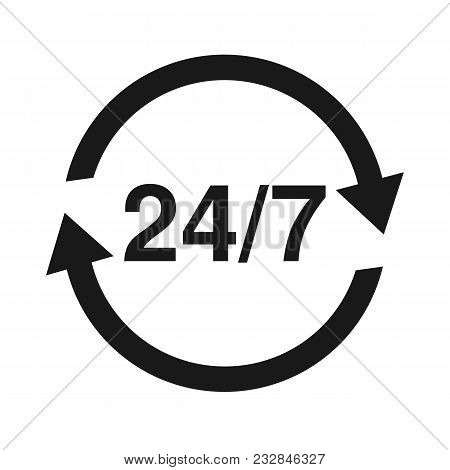 24 7 Service Open 24h Hours A Day And 7 Days A Week. Flat Isolated Vector Illustration In Black On A