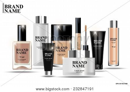 Cosmetic Packaging Design, Realistic Cosmetics, Illustration Of Cosmetics Premium Products