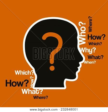 Silhouette Human Head With A Lot Of Questions.