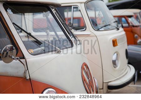Nonthaburi, Thailand - March 10, 2018: Vw Van Owners Gathering In Volkswagen Club Meeting At Car Par