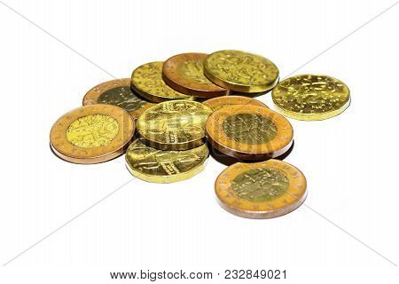 Czech Gold Coins On A White Background