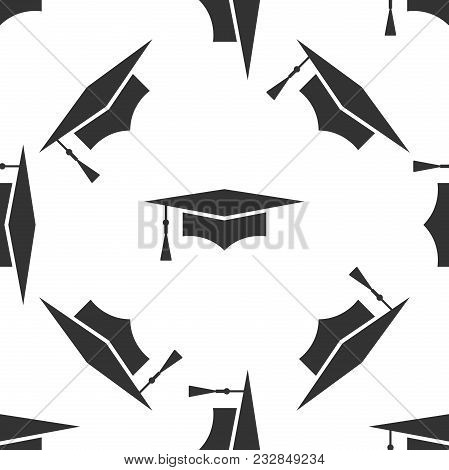 Graduation Cap Icon Seamless Pattern On White Background. Graduation Hat With Tassel Icon. Flat Desi