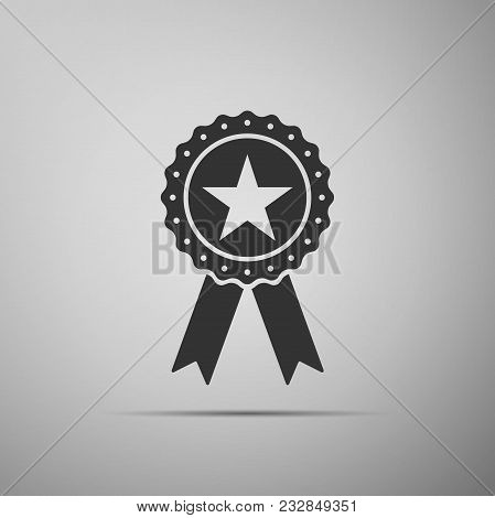 Award Medal With Star And Ribbon Icon Isolated On Grey Background. Winner Achievement Sign. Champion