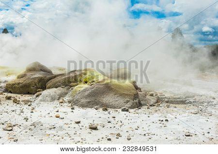 Geothermal area at Whakarewarewa in Rotorua area, New Zealand