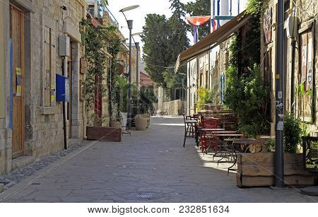 Limassol, Cyprus - November 22, 2017: Narrow Street In The Old Town Of Limassol, Cyprus