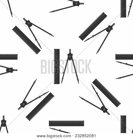 Ruler And Drawing Compass Icon Seamless Pattern On White Background. Drawing Professional Instrument