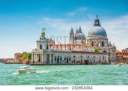 Venice In Summer, Italy. Grand Canal, Punta Della Dogana And Basilica Di Santa Maria Della Salute. V