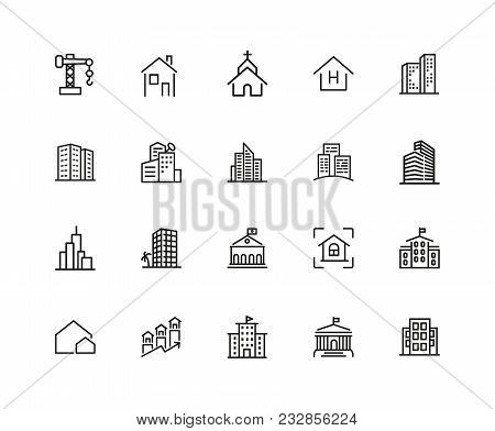 Construction Icons. Set Of Twenty Line Icons. Church, Garage, Hospital. Urban Environment Concept. V