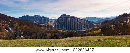 Beautiful Countryside Panorama In Springtime. Beautiful View Of Mountainous Area In Carpathians.