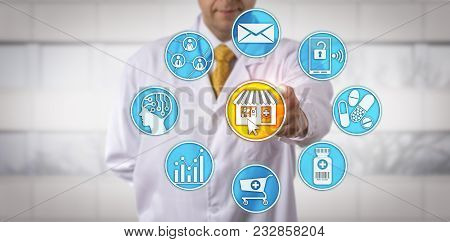 Unrecognizable Independent Retail Pharmacy Owner Is Initiating An E-pharmacy Application. Pharmaceut