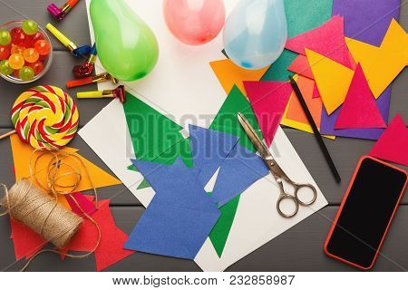 Birthday Handmade Background. Colorful Party Paper Decorations, Flags, Diy Accessories And Smartphon