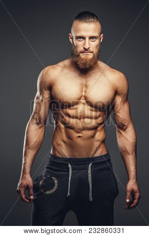 Shirtless Muscular Man With Beard On A Grey Background.