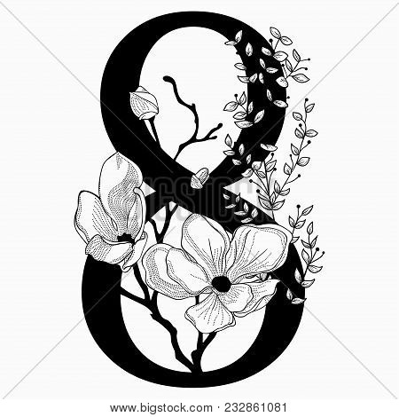 Vector Hand Drawn Floral Number Eight Monogram Or Logo. Numeric 8 With Flowers And Branches, Cherry