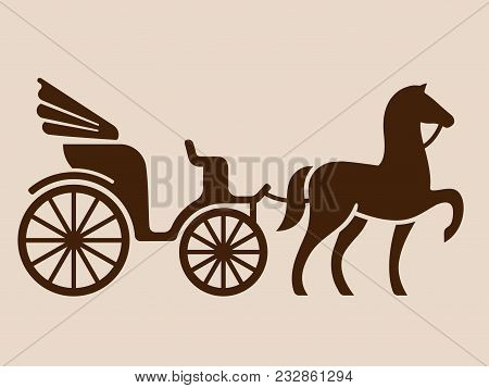 Vintage Horse Drawn Carriage. Stylized Silhouette Of Horse And Passenger Buggy. Isolated Vector Illu