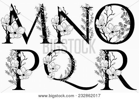 Vector Hand Drawn Floral Uppercase Letters Monograms Or Logo. Uppercase Letters M, N, O, P, Q, R Wit