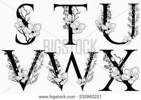 Vector Hand Drawn Floral Uppercase Letters Monograms Or Logo. Uppercase Letters S, T, U, V, W, X Wit