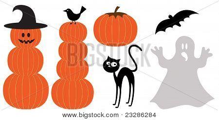 Set of Halloween design elements