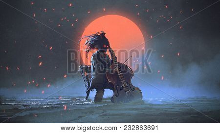 Mysterious Man Sitting On A Chair Playing The Cello In The Sea Aginst The Night Sky With The Red Moo