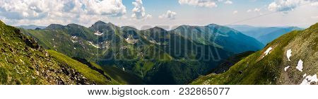 Gorgeous Panorama Of Fararas Mountains. Lovely Place In Romania, Popular Destination For Hiking And