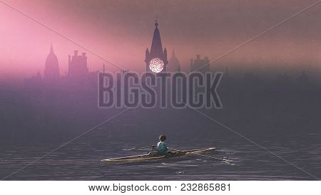 Boy Rowing A Boat In The Sea And Mist With Ancient Castles In Background, Digital Art Style, Illustr