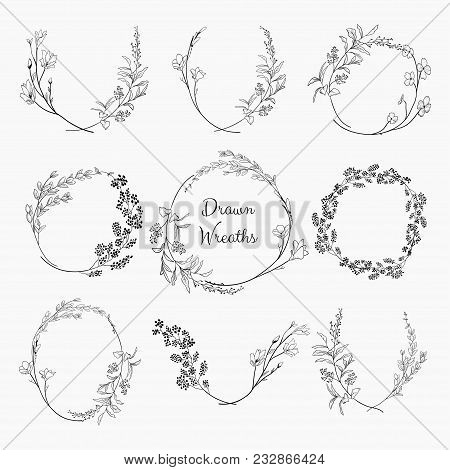 Set Of 9 Black Doodle Hand Drawn Decorative Outlined Wreaths With Branches, Herbs, Plants, Leaves An