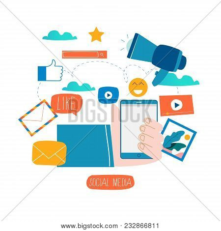 Social Media, Social Networking, Video And Photo Sharing, Communication, Chatting And Messaging Flat