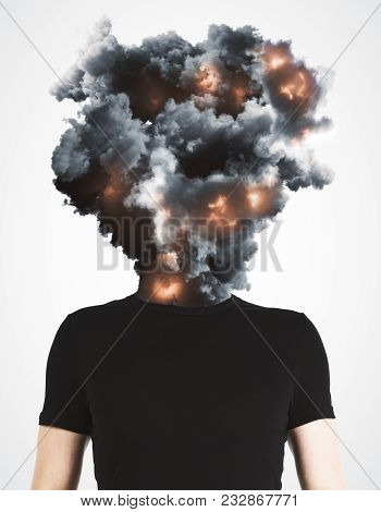 Man With Abstract Explosion Smoke And Fire Head Standing On White Background. Disaster And Stress Co