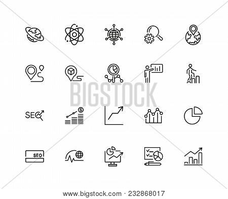 Development Icons. Set Of Twenty Line Icons. Growth Chart, Seo Optimization, Global Business. Market