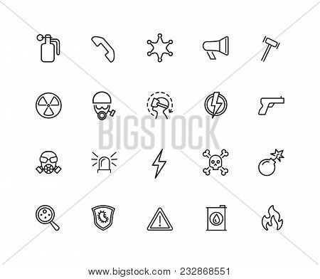 Guard Icons. Set Of Twenty Line Icons. Bomb, Radiation Sign, Fire. Caution Signs Concept. Vector Ill