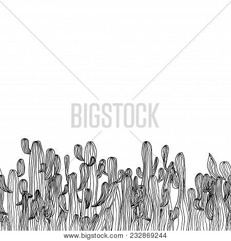 Vector Seamless Cactus Border From Saguaro Cactus. Sketch Cactus Background. Coloring Page Book Anti