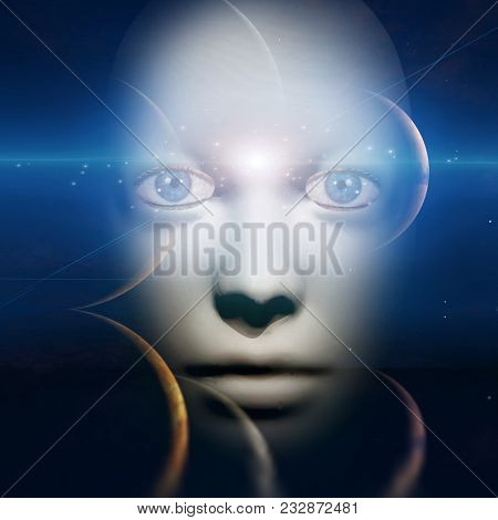 Human face with space background. 3D rendering