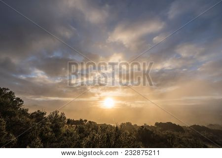Sunrise view from Santa Susana Pass State Historic Park in the San Fernando Valley area of Los Angeles, California.