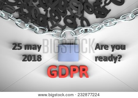 GDPR concept illustration. General Data Protection Regulation, the protection of personal data. Data and chain with lock. 3d render illustration.