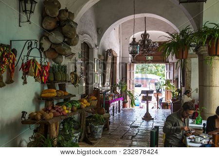Mexico, Yucatan - February 17, 2018:  Restaurant In Province Town Valladolid On The Way To Chichen I