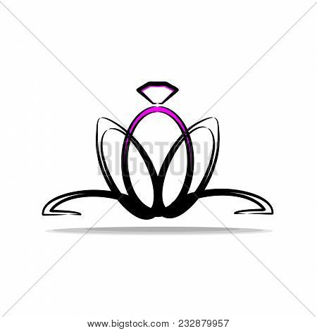 Logo For The Engagement And The Wedding. Ring In The Form Of A Flower. Fashionable And Contrast Logo