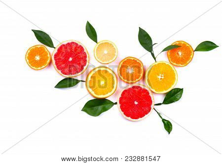 Citrus Fruits Isolated On White Background. Isolated Citrus Fruits. Pieces Of Lemon, Pink Grapefruit