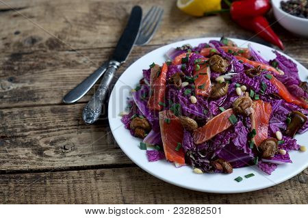 The Chinese Cabbage Salad On Wooden Background