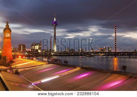Pegeluhr, Clock Tower In Dusseldorf. Dusseldorf, North Rhine-westphalia, Germany.