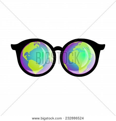 3d Glasses, Sunglasses, Virtual Reality, Planet Reflection In Glasses, Globe, Planet Earth, Globe Fo