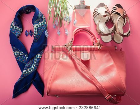 Spring Female Look. Combination Of Clothes, Shoes, Accessories And Cosmetics On Pink Background