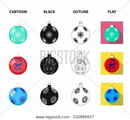 New Year Toys Cartoon, Black, Outline, Flat Icons In Set Collection For Design.christmas Balls For A