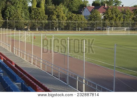 Provincial Stadium, Children Are Trained To Play Football And To Score The Ball Into The Football Go
