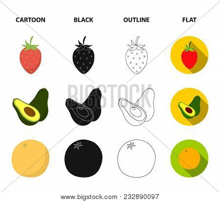 Strawberry, Berry, Avocado, Orange, Pomegranate.fruits Set Collection Icons In Cartoon, Black, Outli