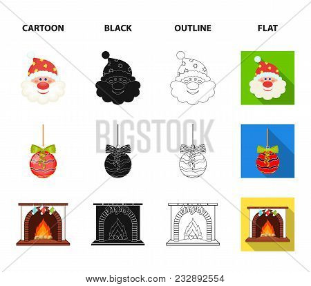 Santa Claus, Dwarf, Fireplace And Decoration Cartoon, Black, Outline, Flat Icons In Set Collection F
